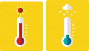 Two thermometers showing contrasting temperatures