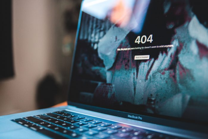 404 error page on laptop screen