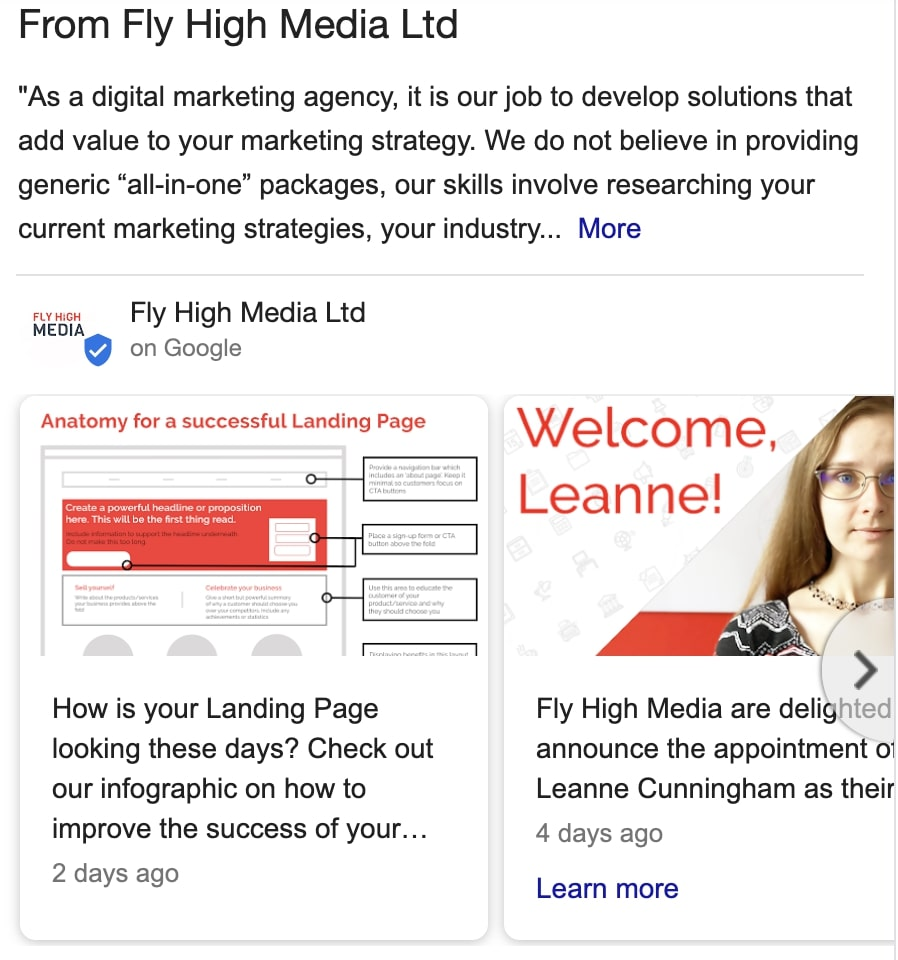 Fly High Media's Google My Business page